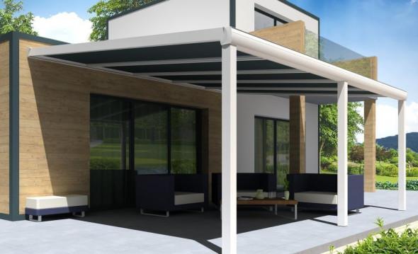 Pergola Gaïa en aluminium blanche avec panneau thermotop anthracite pose mur/sol