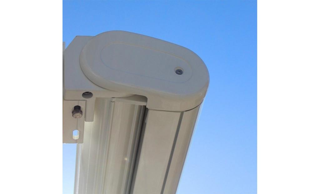 Store Cassis ral9010 - 4,00 x 3,00  T103-beige manœuvre motorisé + secours + télécommande + led à droite  - 1