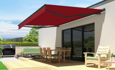 Store banne semi-coffre 190 zéphyr gris toile acrylique T113 rouge foncé