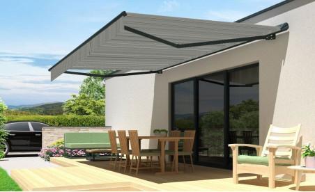 Store banne semi-coffre 190 zéphyr gris toile acrylique T503 rayures noires