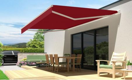 Store banne semi-coffre 190 zéphyr blanc toile acrylique T113 rouge foncé