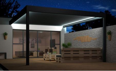 Pergola bioclimatique à lames orientables h2 hélios pose mur/sol grise avec éclairage led