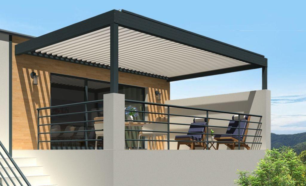 Pergola bioclimatique h3 titan pose mur/sol grise avec lames orientables blanches perpendiculaires à la façade
