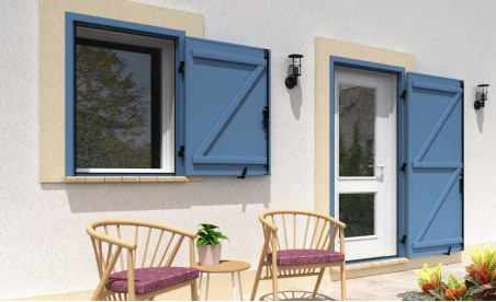 Volet battant isolé en aluminium un vantail sur pré-cadre bleu pigeon ral5014 structuré