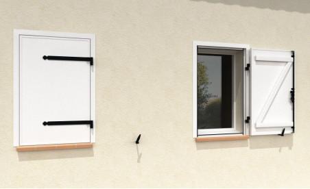 Volet battant isolé en aluminium un vantail sur pré-cadre blanc pur ral9010 satiné