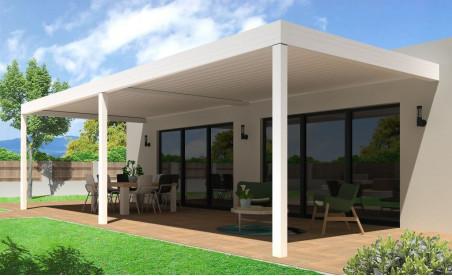 Pergola bioclimatique h3 titan pose mur/sol blanche avec lames orientables double travées