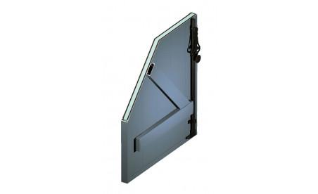Volet battant isolé en aluminium bleu pigeon ral5014 structuré