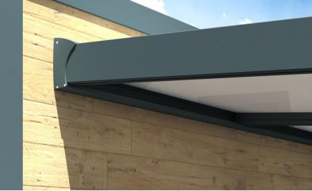 Pergola Gaïa en aluminium grise avec panneau thermotop blanc pose mur/sol détail 2
