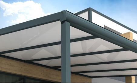 Pergola Gaïa en aluminium grise avec panneau thermotop blanc pose mur/sol détail 1