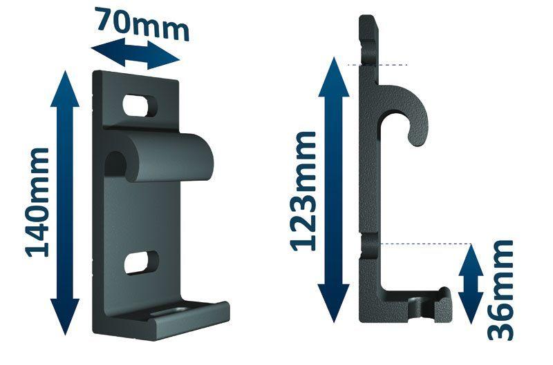 Encombrement support aluminium semi-coffre 190 Zéphyr