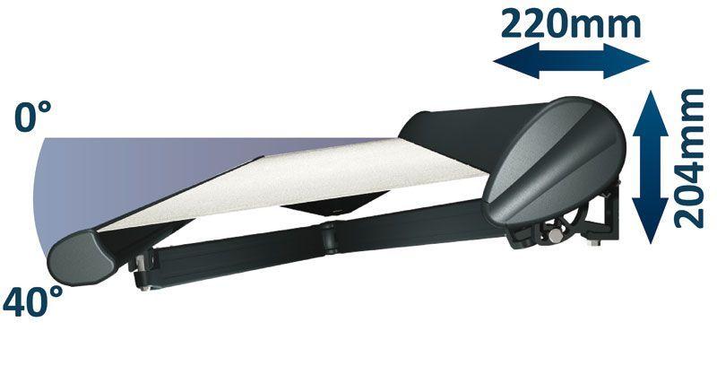 Encombrement et inclinaison store banne semi-coffre 190 Zéphyr