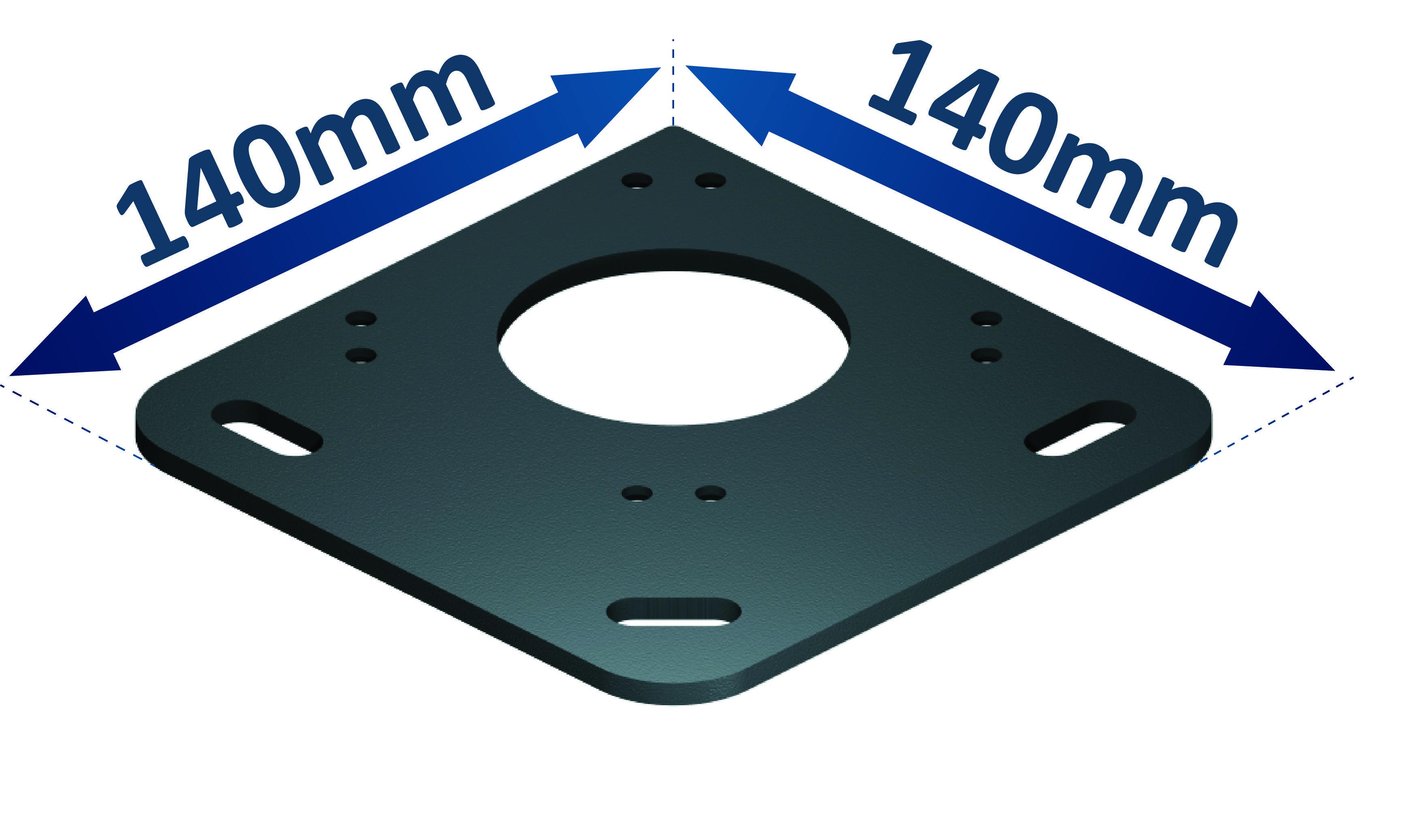 Encombrement de la platine aluminium de sol pour pergola bioclimatique h2 hélios à lames orientables