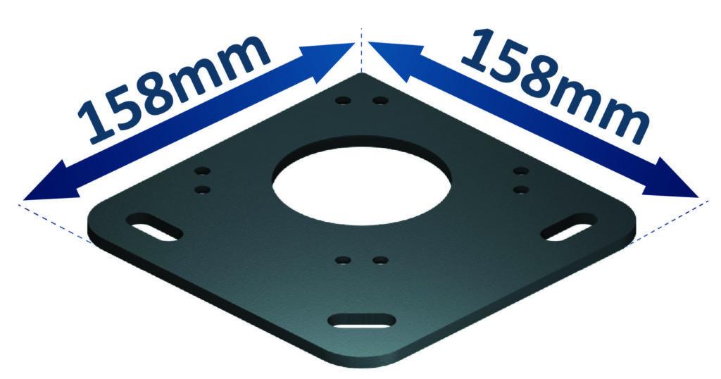 Encombrement de la platine aluminium de sol pour pergola bioclimatique à lames orientables titan
