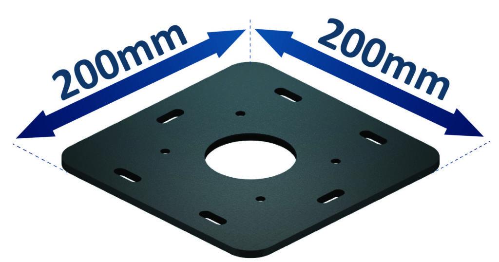 Encombrement de la platine aluminium de sol pour pergola bioclimatique titan autoportée