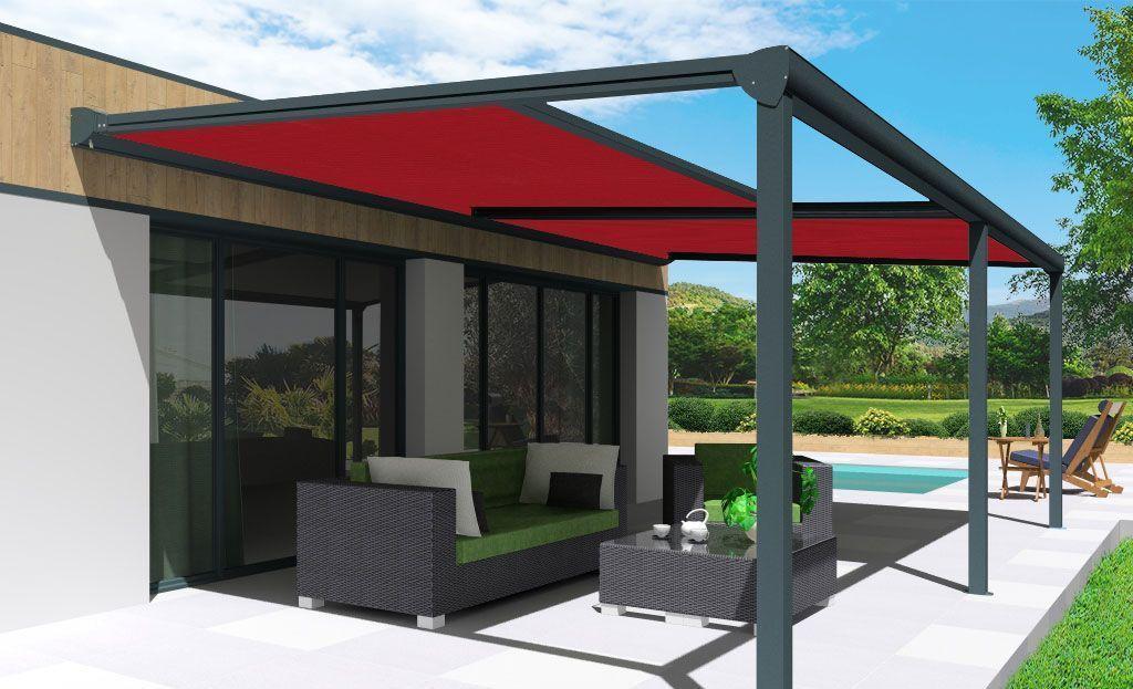 Pergola toile enroulable Phoenix grise avec toile acrylique T113-Rouge foncé double modules