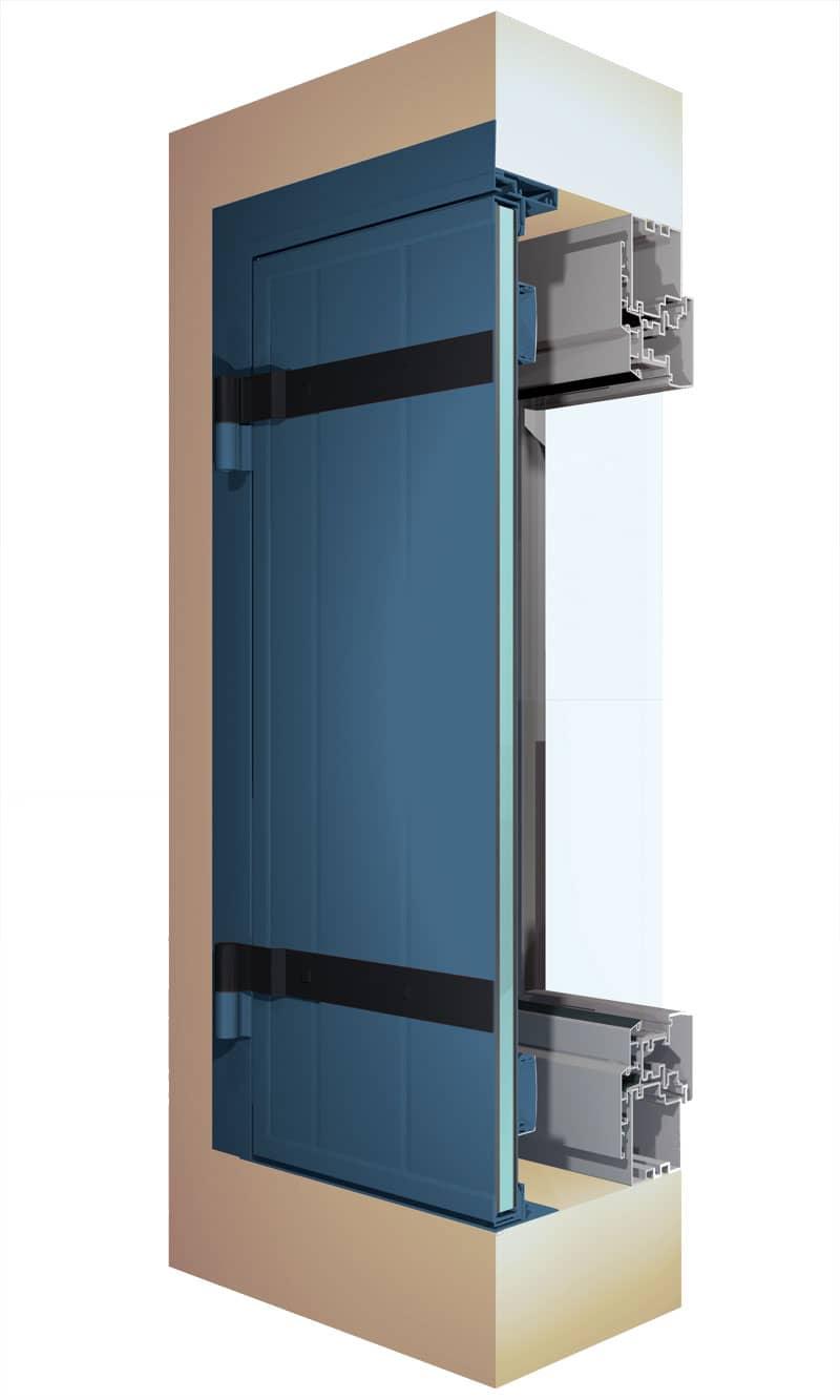 Vue en coupe du volet battant isolé sur pré-cadre en aluminium