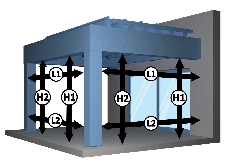 Prise de mesure rideau à coulisses chronos dans pergola bioclimatique aluminium à lames orientables