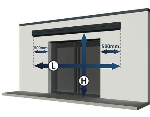 Prise de mesure du store banne centré par rapport à la baie vitrée